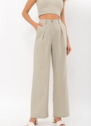 Льняные брюки оливкового цвета, арт. 71143