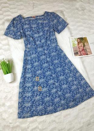 Платье/рубашка миди синее в принт под поясок joe brouns