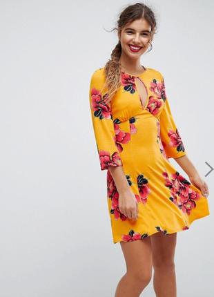 Платье новое яркое стильное в цветы asos uk 14/42/l