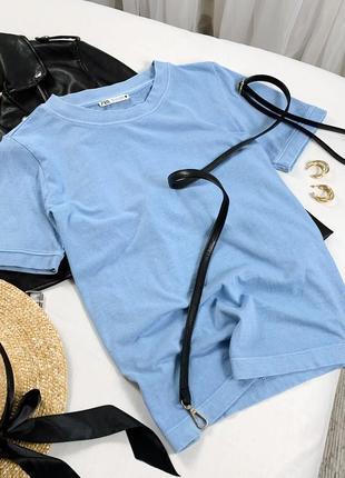 Голубая футболка zara с новых коллекций