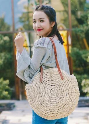 Круглая летняя пляжная сумка вязаная плетёная сумка светлый беж