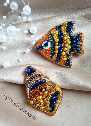 Парные броши рыбка ракушка