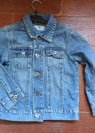 Джинсовка синяя джинсовый пиджак куртка с потертостями