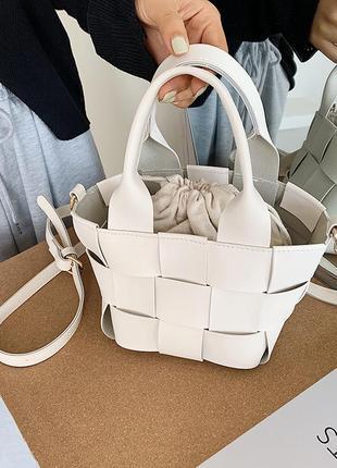 Модная женская сумка белая сумка через плечо универсальная сумка-мессенджер тканая внутренняя сумка