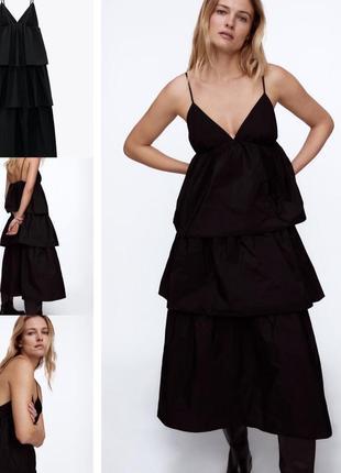 Чёрное новое платье миди м zara размер тонкие бретели