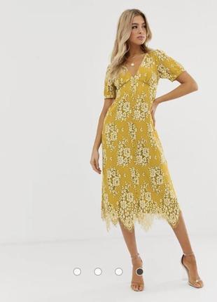 Кружевное чайное платье миди на пуговицах asos design