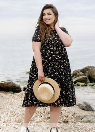 Стильное и романтическое шифоновое платье батал + бесплатная доставка нп 💕