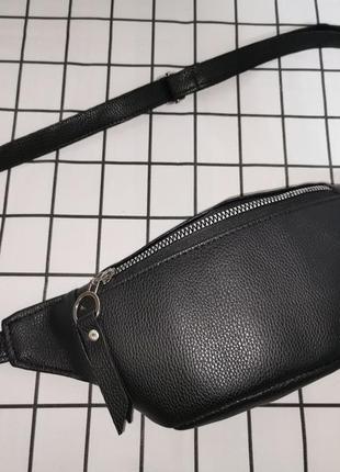 Черная бананка, барыжка, сумка на пояс, поясная сумка, экокожа