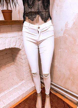 Джинсы  белые , джинсы скини