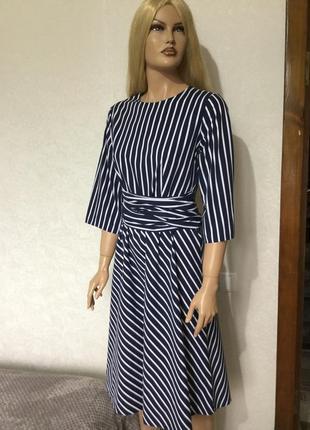 Платье хлопковое миди в полоску с декоративным поясом marks&spenser размер 10