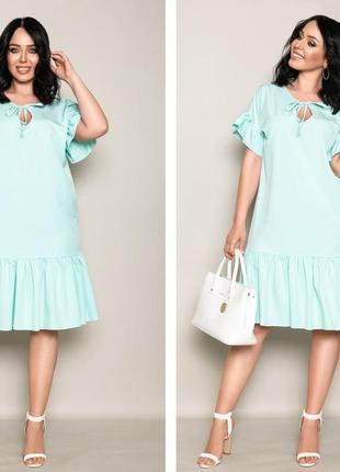 Платье трапеция с рюшами,мята синий