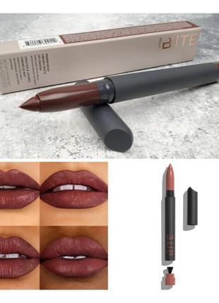 Кремовый карандаш для губ bite beauty power move creamy matte lip crayon cognac
