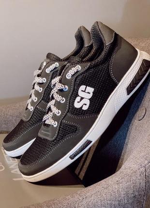 Чоловічі кросівки на літо-чорна сітка sg від виробника /кроссовки мужские летние,сетка