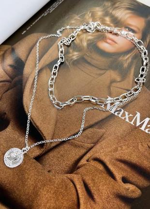 Многослойная цепочка цепь на шею колье подвеска монета чокер ланцюжок тренд серебро