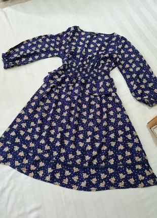 Платье  asos  синее в красивом принте размер м