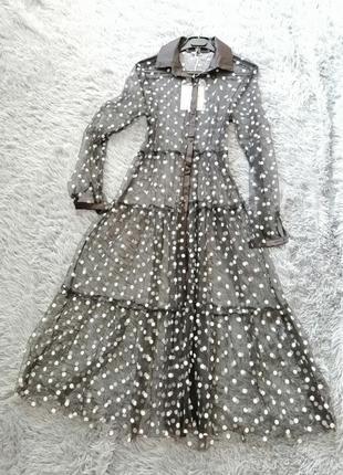 Вечернее платье накидка сетка в горох пляжная туника