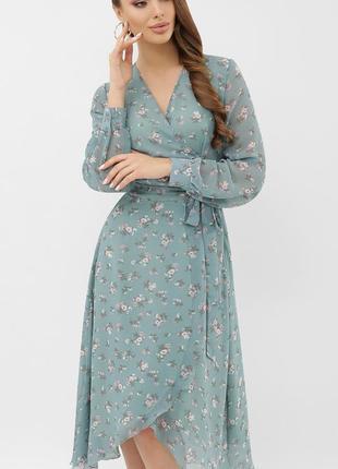 Платье женское миди шифон, весна 2021
