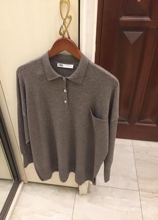 Новий.джемпер поло бренду zara oversized fit polo jumper merino wool blend