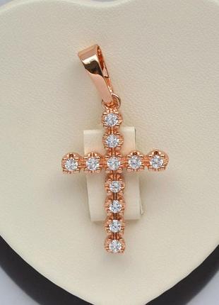 Крестик позолоченный  / кулон  / крест позолоченный