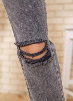 Купить рваные джинсы женские свободные серого цвета недорого4 фото