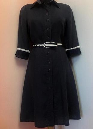 """Итальянское летнее платье-халат из """"вареного"""" льна темно-синего цвета"""