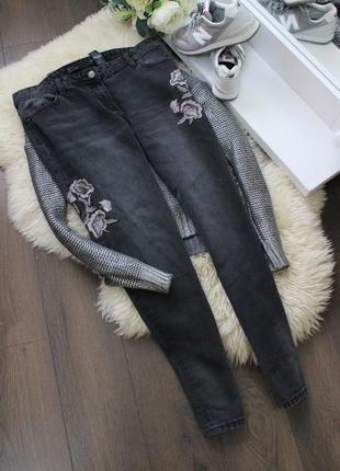 Джинсы с вышивкой рр 12-14 boyfit next jeans