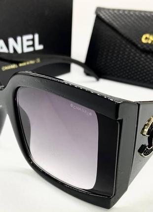 Chanel женские солнцезащитные очки крупные чёрные с градиентом и массивными дужками