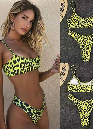 Хит этого лета ,яркий купальник в леопардовый принт