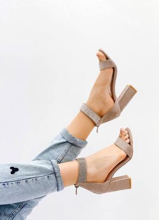 Босоножки эко-замш стразы бежевые на высоком каблуке сандалии туфли летние открытые