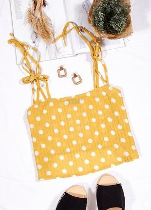 Желтый топ-майка в белый горошек, жовтий топ у білий горошок