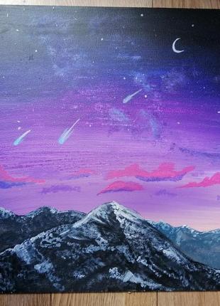 Картина акрилом, пейзаж, горы, космос