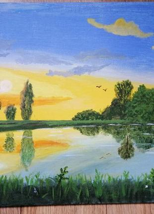 Картина акрилом, пейзаж, река