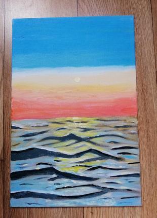 Картина акрилом на полотне, море