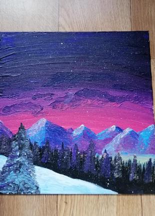 Картина акрилом, горы, космос