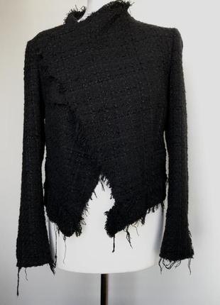 Пиджак жакет косуха zara размер l  твидовый жакет с бахромой от zara