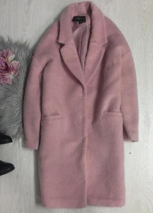 Пальто бойфренд оверсайз розовое пудра тёплое куртка бомпер
