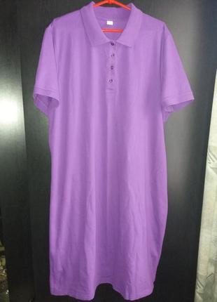 Классное платье-рубашка поло р.54