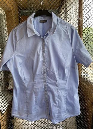 Голубая рубашка, рубашка с коротким рукавом