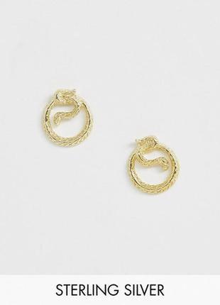 """🐍💛 серебряные позолоченные серьги-гвоздики """"змеи уроборос"""" kingsley ryan с сайта asos"""