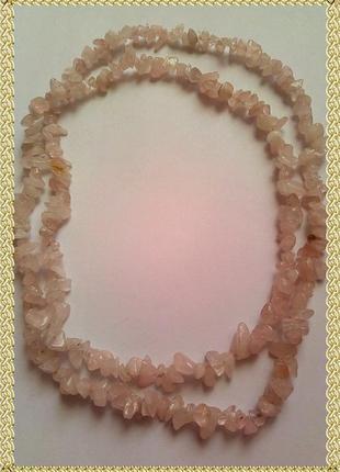 Длинные бусы из камней розового кварца