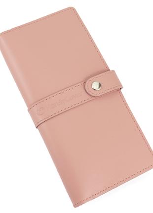 Кожаный женский кошелёк натуральная кожа персиковый