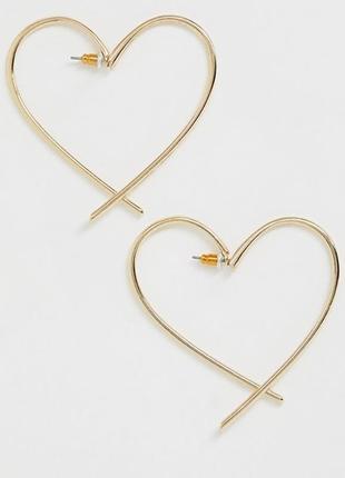 Классные серьги-сердечки гвоздики от асос оригинал с сайта asos
