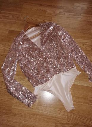 Кофта в паетках боди блуза с длиным рукавом нарядная