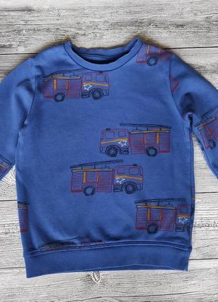 Свитшот для мальчика с пожарными машинами машинками 3-4 года