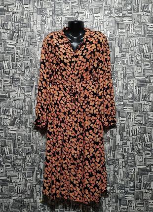 Миди платье-рубашка, цветочное платье с поясом от c&a, большой размер.