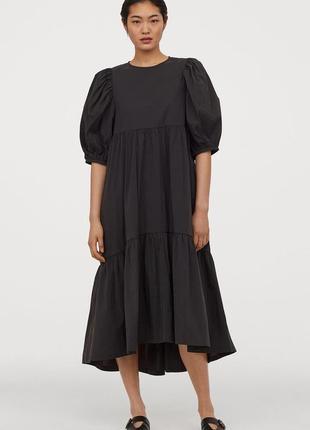 H&m макси платье баллон воланы пафф рукав (фонарик)