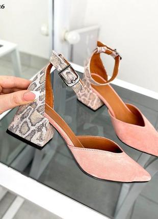 Удобные туфли на низком каблуке татуралка кожа/замша