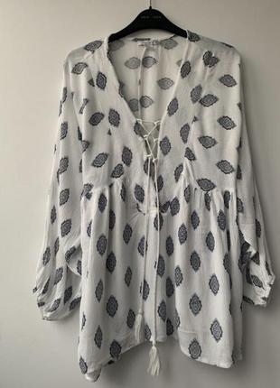 Бохо белая туника накидка блуза этно хлопковая жатая пляжная летняя