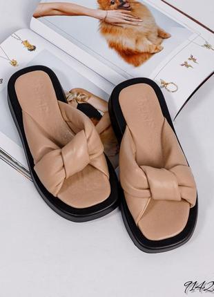 ❤ женские бежевые кожаные шлёпки шлёпанцы сланцы тапочки ❤