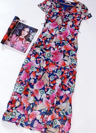 Брендовое платье футболка oui принт фрукты3 фото